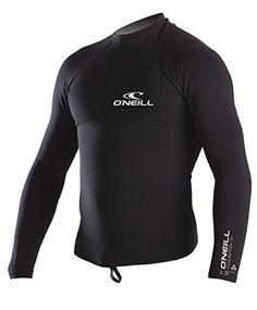 ONeill UV Sun Protection Mens Thermo-X Long Sleeve Crew Rashguard, Black, Large