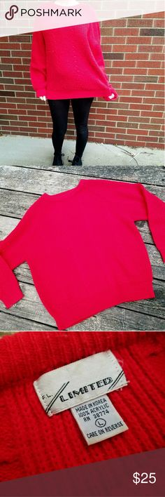 Vintage Cable Knit Sweater Bright red sweater. Really cute and comfy. Great condition no flaws.  (I'm modeling this. I usually wear a small) F.L. Limted Sweaters Crew & Scoop Necks