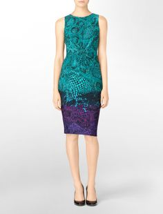 printed matte jersey sheath dress - dresses- Calvin Klein