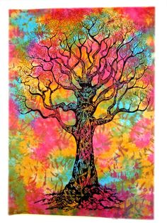 Tye&Dye Tree Of Life Wall Hanging Tapestry Home Decorative Bed Cover Boho Art #Handmade