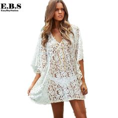 Sexy Lace Beach Cover Up Dress Cotton Tunic New Arrival Summer Women Swimsuit Sexy V Neck Beach Kaftan Sun Protection Dress. Product ID: Long Sleeve Bikini, Beach Kaftan, Beachwear For Women, Ladies Dress Design, Fashion Dresses, Swimsuit Cover, Swim Cover, Bikini Swimsuit, Floral Lace