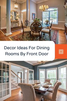 Have a look at decor ideas for dining rooms by front doors, including what design professionals and architects think and tips for rug and furniture use. Dining Room Colors, Dining Room Wall Decor, Dining Room Lighting, Dining Rooms, Unique Home Decor, Home Decor Styles, Interior Door Installation, Tall Floor Lamps, Beautiful Interior Design