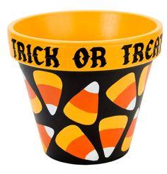 DecoArt® Candy Corn Treat Clay Pot #claypot #craft #halloween