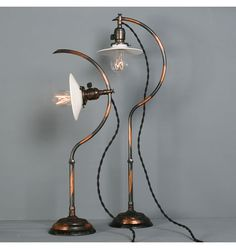 Rare Pair of No.22 Faries Adjustable Desk Lamps, c1908