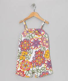 White Abstract Floral Romper - Girls by S.W.A.K. #zulily #zulilyfinds
