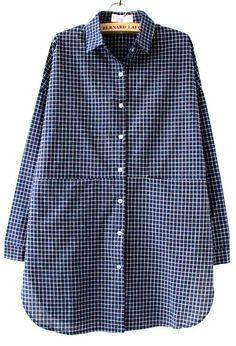Blue White Plaid Lapel Pocket Loose Blouse - Sheinside.com - tie blouse, short blouse dresses, women's sheer blouses *ad