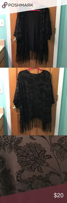 Crushed Velvet Fringe Kimono Stretchy kimono top with crushed velvet paisley print and fringe hem. Brand new with tags. Shannon Ford New York Brand. Multiple sizes available. Black in color. shannon ford new york Tops Blouses