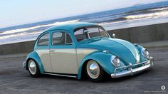 Blue and cream classic VW Beetle