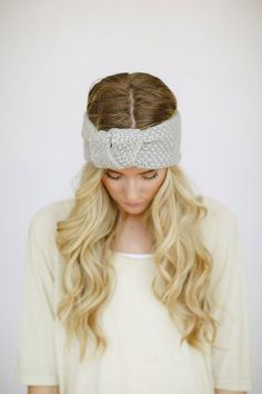 Light Gray Knitted Knotted Mohair Ear Warmer by ThreeBirdNest, $28.00