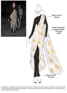 Cbazaar DIY White Dia Mirza Georgette Pant Style Saree