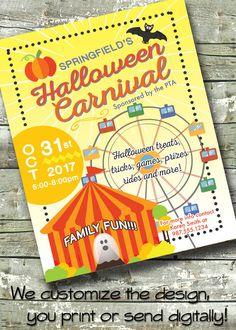 Halloween Carnival ~ FALL FESTIVAL ~ Trunk or Treat ~ 5x7 Invite ~ 8.5x11 Flyer ~ 11x14 Poster ~ 300 dpi Digital Invitation by DitDitDigital on Etsy