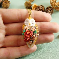 Barn Owl Red Roses Necklace  | Polymer Clay Pendant | Miniature Gold Owl Bird | Animal Lover Gift