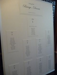 Classic ivory pearlised wedding seating plan