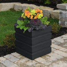 black plastic plant containers | Mayne Inc Freeport Patio Planter, 18 by 18-Inch, Black