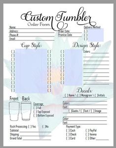Cricut Projects Discover DIY Editable Custom Tumbler Order Form in PDF! Great for those Craft Shows! Diy Tumblers, Custom Tumblers, Glitter Tumblers, Acrylic Tumblers, Glitter Cups, Circuit Projects, Vinyl Projects, Diy Love, Bubble
