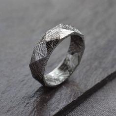 Faceted Meteorite Ring