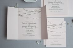 Cafe Lights Wedding Invitation, shown letterpress printed in gold leaf ink on pink Arturo paper. www.wickedbride.com, photo by Amie Fedora Photography