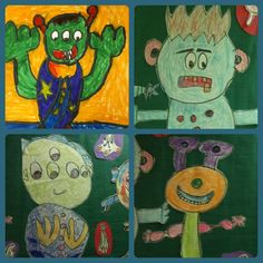 Alien art lesson - elementary age special ed - geometric shapes