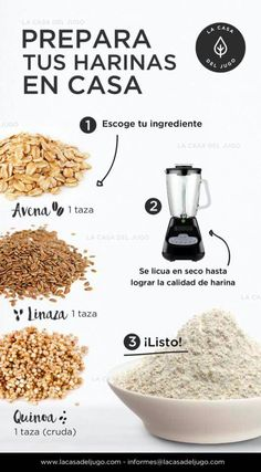Prepare your flour at home: you gonna choose a cup of oats , quinoa or linseed