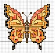 Schematic cross stitch Yellow Butterfly