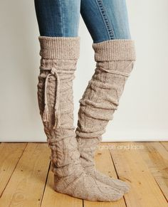 Alpine Thigh High Slouch Sock - BARLEY BROWN thick cable knit socks w/ fold over cuff and tassel tie - boot sock leg warmer (item no. 6-10) by GraceandLaceCo on Etsy
