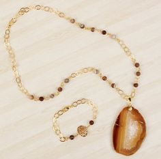 Create a beautiful golden necklace and bracelet with unique semi-precious gemstones! Beads Direct, Golden Necklace, Beaded Jewelry, Jewellery, Semi Precious Gemstones, Bracelets, Necklaces, Pendant Necklace, Chain