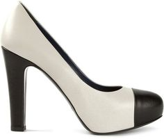 Studio Pollini Contrasting Toe Cap and Heel Wedged Insole Pumps