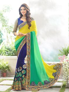 Yellow Georgette Wedding Saree 66534