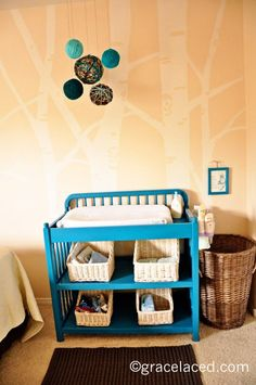 teal painted changing table
