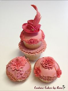 Rosy cupcakes from CakeCentral.com by couturecakesbyrose