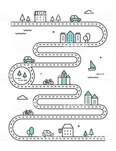 Road Illudtrated Map with Town Buildings and Transport. Vector Infographic Design royalty-free road illudtrated map with town buildings and transport vector infographic design stock vector art & more images of footpath Design Logo, Map Design, Free Vector Graphics, Free Vector Art, Road Vector, Buch Design, Timeline Design, Journey Mapping, Transportation