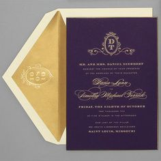 Plum Perfection wedding invitation with gold writing #COTM