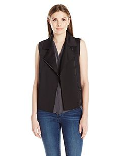 T Tahari Womens Lily Vest Black Large -- Check this out by going to the link at the image.