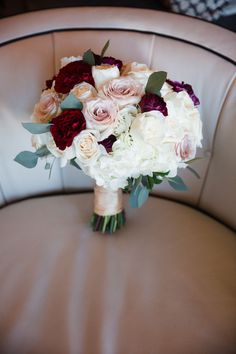 Deep Red and Blush Wedding Bouquet.Luxury wedding at the Mandarin Oriental with a color scheme of white, blush, and pops of wine red produced by Las Vegas Wedding Planner Andrea Eppolito with photos by Stephen Salazar Photography. Burgundy And Blush Wedding, Burgundy Bouquet, Blush Wedding Flowers, Blush Roses, Bridal Flowers, Flower Bouquet Wedding, White Wedding Bouquets, Flower Bouquets, Luxe Wedding