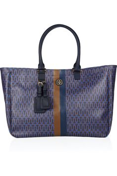 Tory Burch   Roslyn monogrammed coated-canvas tote