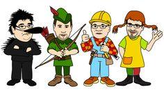 Puolueet satuhahmoina, Kiroileva siili, Robin Hood, Puuha-Pete ja Peppi Pitkätossu, Illustration @ Stina Tuominen
