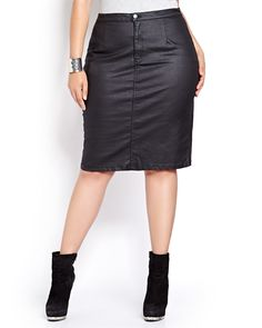 With its sleek stretch design and sexy silhouette, this Love and Legend pencil skirt brings a new and edgy essence to your wardrobe. Plus size, metal front zip, 2 back pockets, back slit. 27 inch length. Pocketless front for a smooth finish.