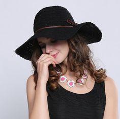 Fashion wide brim sun hat for women bow black sun hats beach wear