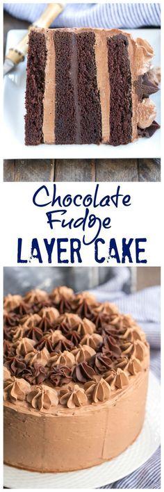 Chocolate Fudge Layer Cake – 6 layers of pure chocolate deliciousness! Chocolate Fudge, Chocolate Desserts, Chocolate Meringue, Baking Chocolate, Chocolate Fondant, Cupcakes, Cupcake Cakes, Bundt Cakes, Just Desserts