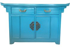 Turquoise Chinoiserie Cabinet