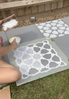 After moving into my first home just over a year ago, landscaping my garden was last on the bottom of my list. I wanted to find a way to transform my concrete patio garden slabs, by myself without … Concrete Paving Slabs, Grey Paving, Patio Slabs, Stencil Concrete, Paint Concrete, Garden Slabs, Concrete Garden, Patio Ideas, Backyard Ideas