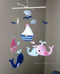 """Baby Mobile - Baby Crib Mobile - Mobile - Crib mobiles - whale and boats Mobile - """" whale, boat """" design on Etsy Baby Crafts, Felt Crafts, Diy And Crafts, Baby Crib Bedding, Baby Crib Mobile, Nursery Crib, Nursery Decor, Room Decor, Diy Y Manualidades"""