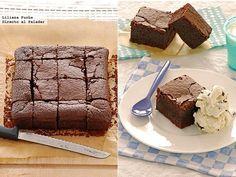 Receta de brownies dos chocolates con cerveza negra. Con fotografías del paso a paso, consejos y sugerencias de degustación. Recetas de postres....