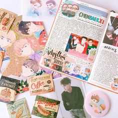 """1,471 Likes, 27 Comments - 허니베어 (@kaiseu) on Instagram: """"my first pages in my new journal are for 첸백시 (◞ꈍ∇ꈍ)◞⋆ . . #exodiary #exojournal #다이어리 #스티커 #diary"""""""