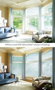 Transform a living room with the luminous signature of Silhouette® window shadings ♦ Hunter Dougl. Sheer Shades, Shades Blinds, Window Coverings, Window Treatments, Hunter Douglas Blinds, Cheap Blinds, Dining Room Curtains, Blinds For Windows, Window Blinds