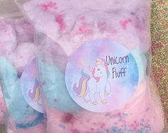 Unicorn Cotton Candy Favors (20) Cotton Candy Bags | Goodie Bags | Cotton Candy Gifts | Cotton Candy Favors | Fluff | Unicorn Theme