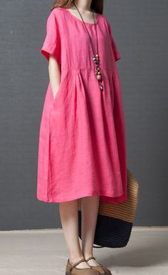 Women loose fitting over plus size retro dress maxi pocket tunic pregnant chic #Unbranded #dress #Casual