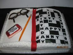 65th Birthday Crossword Puzzle book cake