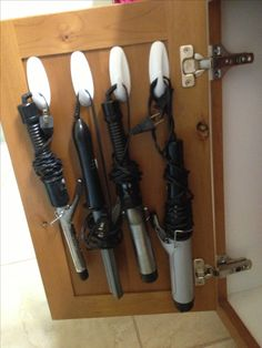 Bathroom storage idea. Perfect hooks for hair appliances