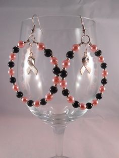 Black, Pink and Silver Glass Bead Hoops